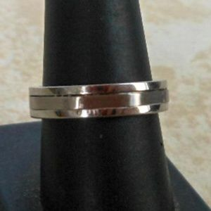 Mens Silver Stainless Steel Wedding Band